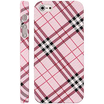 Plastic cover with leather cover with squares for iPhone 5 (Pink)