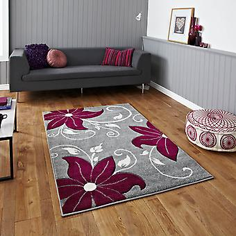 Verona Oc15 Hand Carved Rugs In Grey Purple