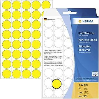 Herma 2251 Labels (hand writable) Ø 19 mm Paper Yellow 1280 pc(s) Permanent adhesive Sticky dots