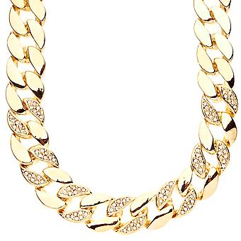 Iced out hip hop bling BOLD CUBAN curb chain - 15 mm gold
