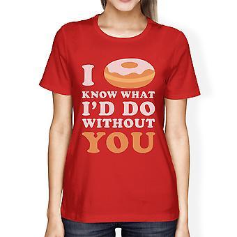 Jeg kranse ved dame rød kortærmet T Shirt Cute Design Top