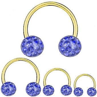 Circular Barbell Gold Plated Titanium 1,6 mm, Multi Crystal Ball Sapphire Blue