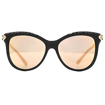 Bvlgari Serpenti Hinge Cateye Sunglasses In Black Metal Scale