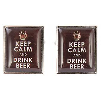 Zennor Keep Calm and Drink Beer Cufflinks - Caramel