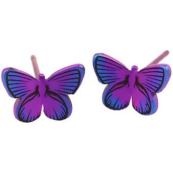 Ti2 Titanium Woodland Small Butterfly Stud Earrings - Pink
