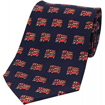 David Van Hagen Bus Silk Tie - Navy/Red