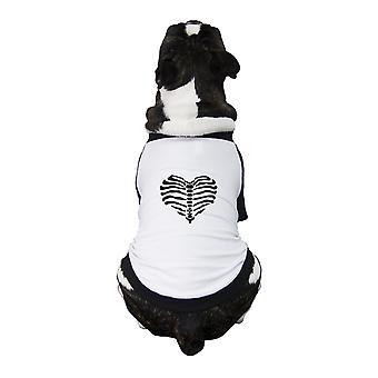 Skeleton Heart Pet Raglan Shirt Funny Graphic Dog Baseball Shirt