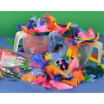 Large 50g Bag of Assorted Coloured Craft Feathers