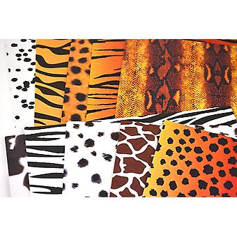 10 Mixed Animal Print A4 Double Sided Card Sheets | Patterned Card for Crafts