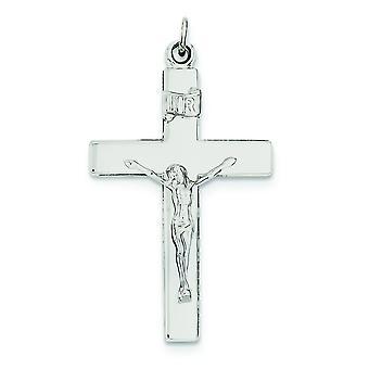 Argent sterling solide poli pendentif réversible Crucifix - 5,4 grammes