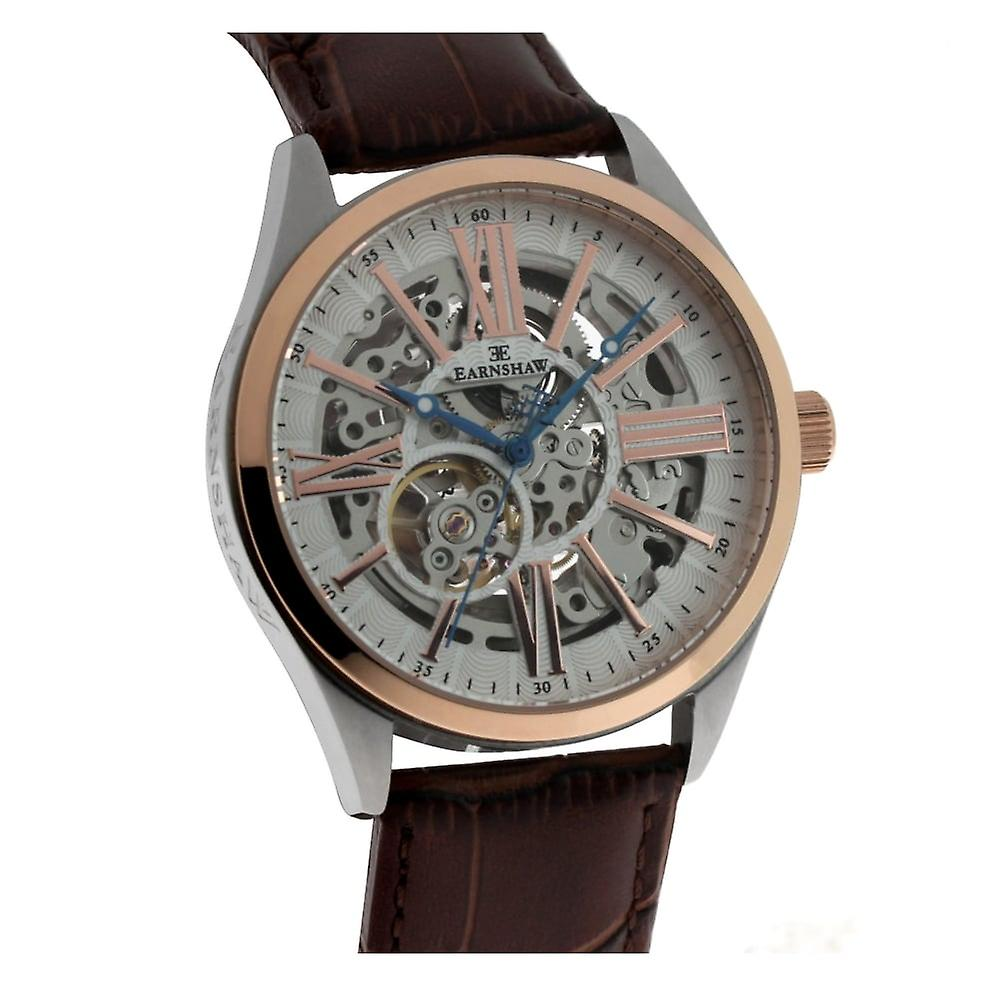 Thomas Earnshaw Es-8037-04 Armagh Two Tone & Brown Leather Automatic Skeleton Men's Watch