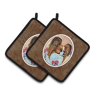 Carolines Treasures  7200PTHD Papillon Rose Pair of Pot Holders