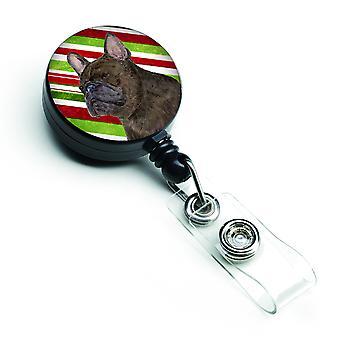 Bulldog Francés bastón de caramelo vacaciones Navidad insignia Retractable del carrete