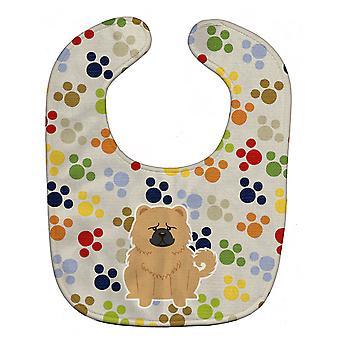 Carolines schatten BB5973BIB Pawprints Chow Chow crème Baby slabbetje