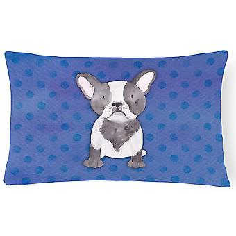 French Bulldog Polkadot Watercolor Canvas Fabric Decorative Pillow