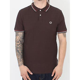 Pretty Green Arlow Tipped Polo - Dark Brown