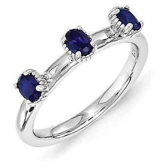 2.5mm Sterling Silver Stackable Expressions Created Sapphire Three Stone Ring - Ring Size: 5 to 10