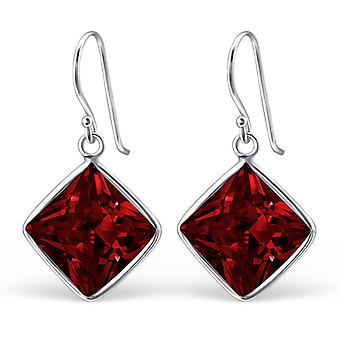 Square - 925 Sterling Silver Cubic Zirconia Earrings