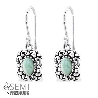 Square - 925 Sterling Silver Opal and Semi Precious Earrings