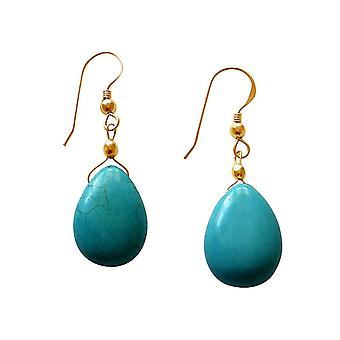 Gemshine - ladies - earrings - gold plated 2 cm - turquoise - drops - blue-