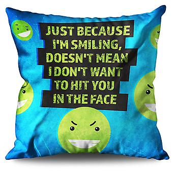 Smile Hit Offensive Linen Cushion Smile Hit Offensive | Wellcoda