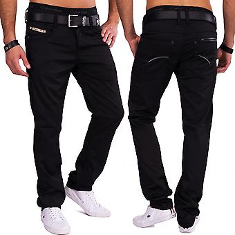 Men's trousers shiny straight leg five Pocket pants elegant coated denim