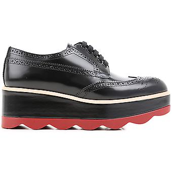 Prada women's 1E935G85MF022C black/red leather lace-up shoes
