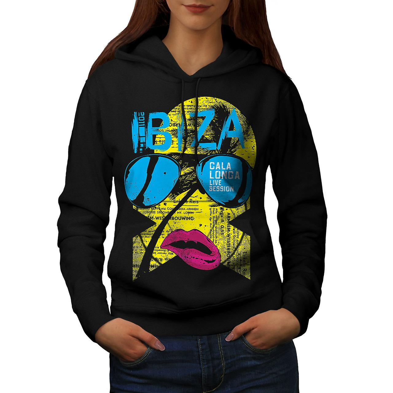 Ibiza Gala Longa Holiday Women Black Hoodie | Wellcoda