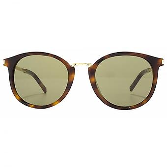 Saint Laurent SL 130 Combi Sunglasses In Havana Green