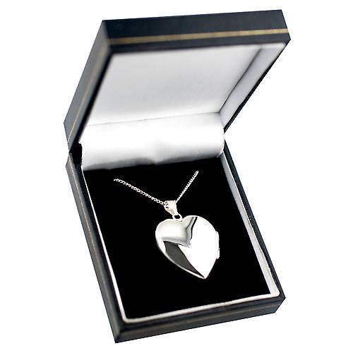 Silver 30x28mm handmade plain heart shaped Locket with a curb Chain 24 inches