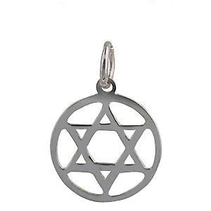 Silver 14mm round plain Star of David Pendant