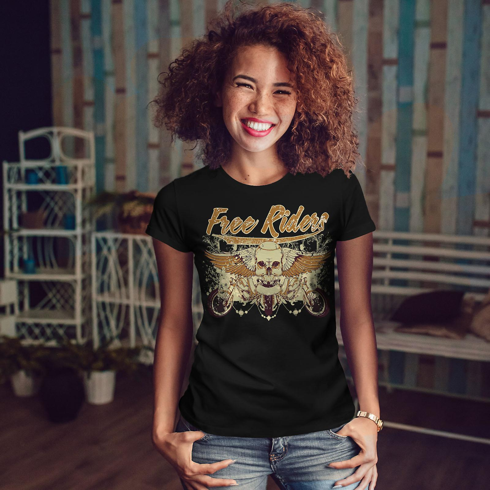 Free Riders Angel Biker Women BlackT-shirt | Wellcoda