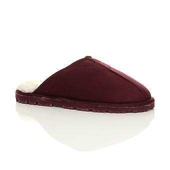 Foderato di pelliccia di inverno di Ajvani mens tacco piatto basso pantofole muli di memoria schiuma lusso regalo