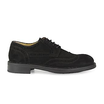 Triver flight mens 99001 Black Suede lace-up shoes