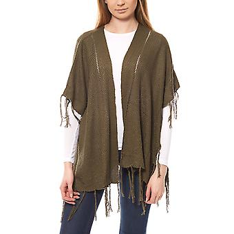 B.C.. best connections by heine ladies green poncho with tassels