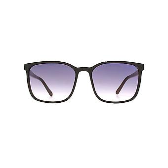 French Connection Fine Square Sunglasses In Black On Milky Brown