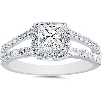 1ct Halo Split chwytem Princess cięte Vintage diament pierścionek zaręczynowy 14K białe złoto