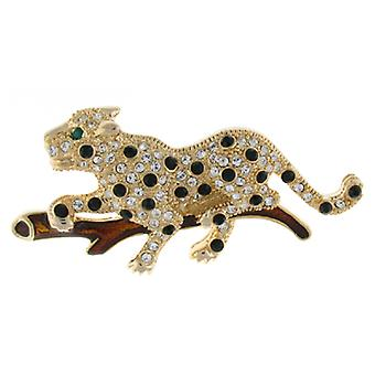 Broches winkel Crystal en glazuur Leopard op een tak broche