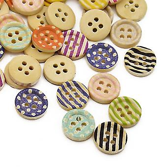 Packet 30 x Mixed Wood 15mm Round 4-Holed Patterned Sew On Buttons HA10885