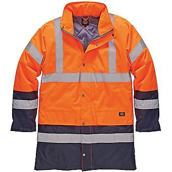 Dickies Mens High Visibility Viz Two Tone Parka Jacket Orange SA7004