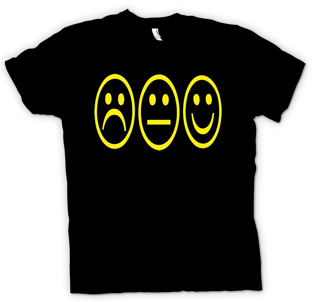 Mens T-shirt - 3 Smiley Faces - Acid House
