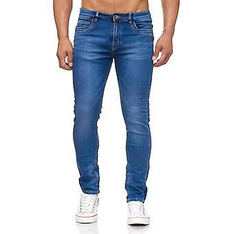 Dril de algodón pantalones cortos usados jeans de hombres stonewashed azul delgado
