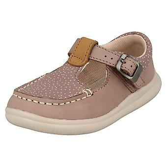 Girls Clarks Casual T-Bar Shoes Cloud Rosa