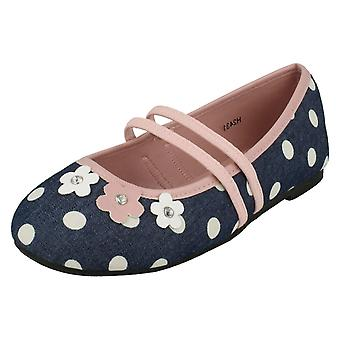 Girls Spot On Flat Floral Ballerina Shoes H2431