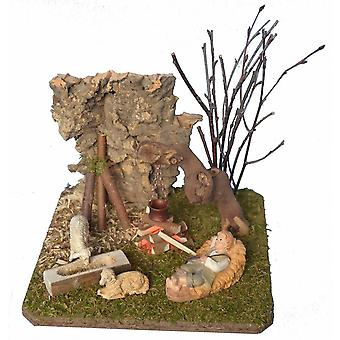 Cribs landscape with camp fire, Shepherd and sheep crib accessories