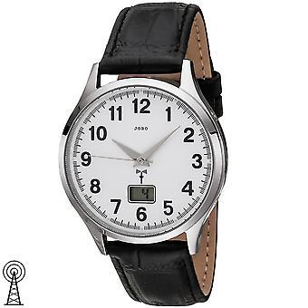 JOBO mäns armbandsur radio radio klocka rostfritt stål läder armband svart mens titta på datum