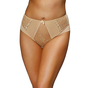 Nessa P2 Women's Alisa Golden Beige Solid Colour Embroidered Knickers Panty Brief
