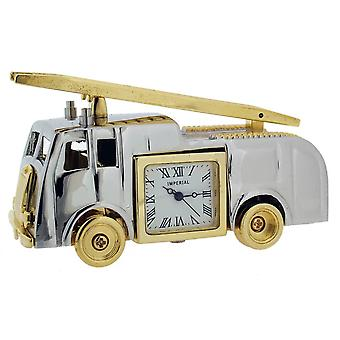 Gift Time Products Vintage Fire Engine Mini Clock - Silver/Gold
