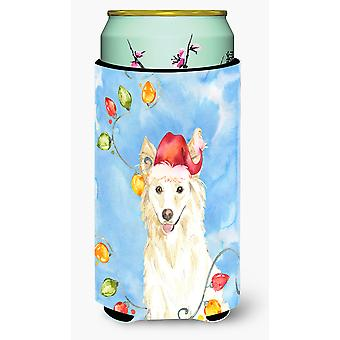 Christmas Lights White Collie Tall Boy Beverage Insulator Hugger