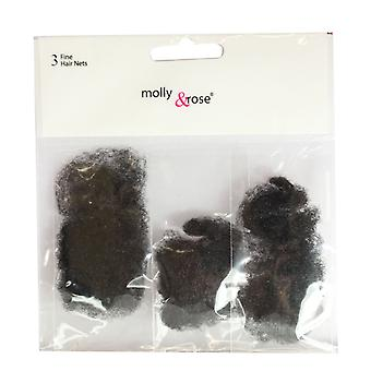 Molly & Rose Fine Hair Net 3pk Black